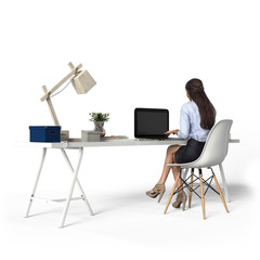 View of sitting woman at the computer, 3d rendering