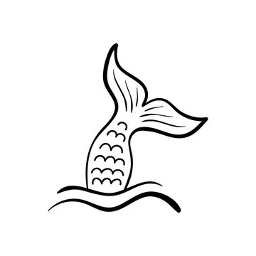 Mermaid tail in sea waves, vector hand drawn illustration, black outlined mermaid fish tail, isolated on white background.
