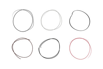 Hand drawn circle line sketch. set of six circles