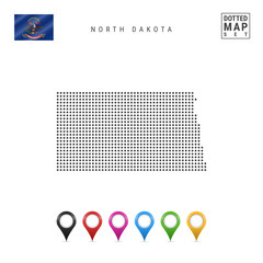 Dots Pattern Vector Map of North Dakota. Stylized Silhouette of North Dakota. Flag of North Dakota. Set of Map Markers