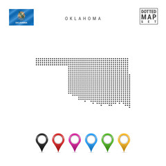 Dots Pattern Vector Map of Oklahoma. Stylized Silhouette of Oklahoma. Flag of Oklahoma. Set of Multicolored Map Markers