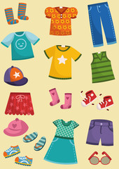 Vector illustration of kids clothing set.