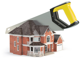 Saw is splitting a house isolated on white background.  Divorce and dividing a property concept.