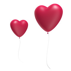 Two Big Red Heart Balloons isolated on white