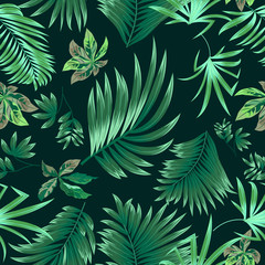 Seamless pattern tropical leaves of palm tree and flowers.