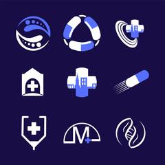 Medical and drugs set Logo element. Corporate branding identity design template. Medical design collection. Vector illustration