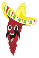 pepper, chili, red, spicy,  vegetable, fire, mexico, cartoon, illustration, pancho, mustache, sombrero, hat,
