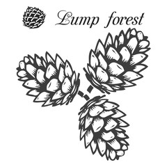 Three pine cones gray, pattern-silhouette on white background,