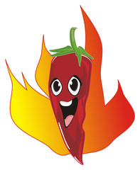 pepper, chili, red, spicy,  vegetable, fire, mexico, cartoon, illustration,