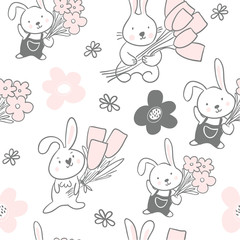 Seamless pattern with cute bunnies with flowers