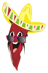 pepper, chili, red, spicy,  vegetable, fire, mexico, cartoon, illustration, pancho, mustache, sombrero, hat, sunglasses