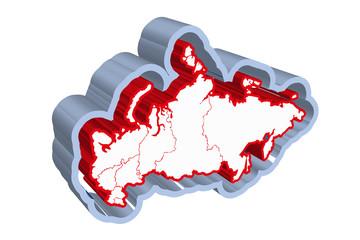 Mapa rojo de Rusia.