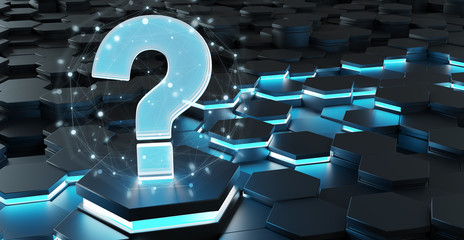 Black and blue question icon on hexagons background 3D rendering