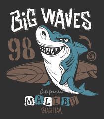 Surf Shark t-shirt print design, vector illustration