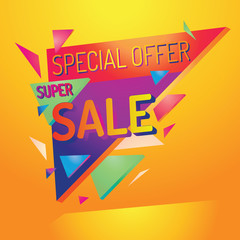 Colorful super sale advertising sign