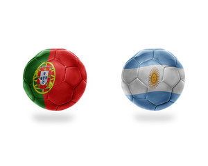 football balls with national flags of argentina and portugal.