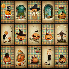 Collection of vintage grunge cards for holiday  Halloween