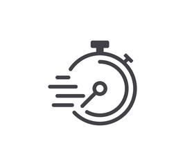 Speed Timer Line Icon. Editable Stroke.