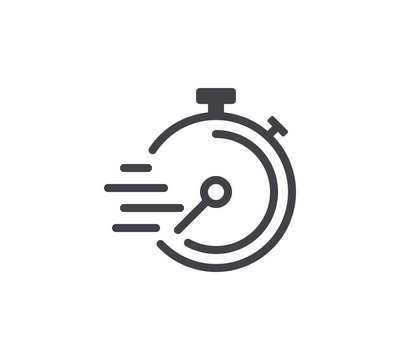 Speed Timer Line Icon. Editable Stroke.
