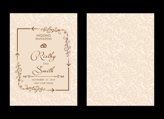 Wedding invitations flourishes ornaments cards,floral invite card Design. save the date, thank you and information design. Vintage victorian frames and decorations. Vector elegant template.