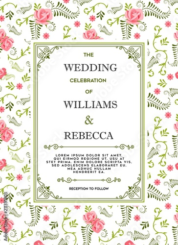 wedding invitations flourishes ornaments cards floral invite card