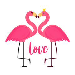 Cute Pink Flamingo in Love Background Vector Illustration