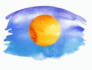 Watercolor blue background, blot, blob, splash of blue paint on white background. Watercolor blue, purple sky, spot, abstraction. Orange, Yellow sun, moon against a blue sky