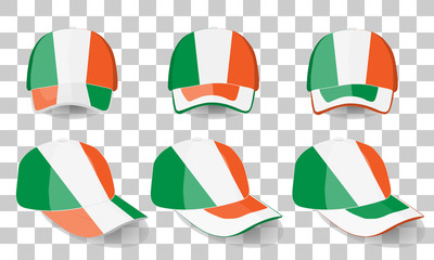 baseball cap with Ireland flag. colorful set. vector illustration