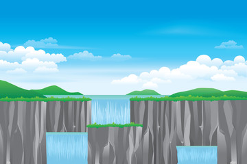 Waterfall landscape. Vector nature background