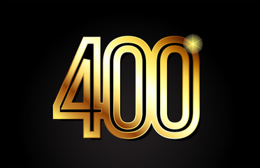 gold number 400 logo icon design Fototapete