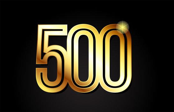 gold number 500 logo icon design