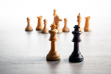 chess pieces on a grey background and black and white chess kings