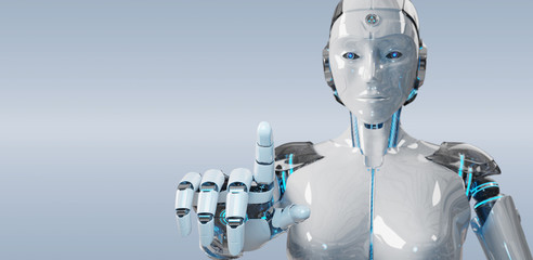 White woman cyborg pointing her finger 3D rendering