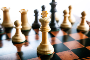 Chess pieces on a chessboard and a chess piece of the king