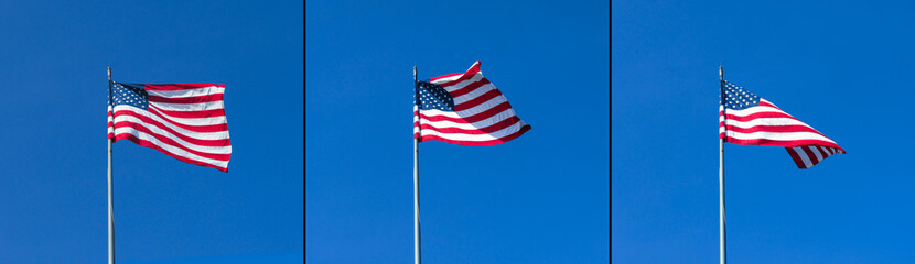 USA flag against the clear blue sky background.