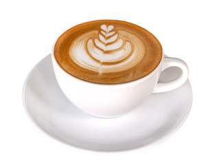 Hot coffee cappuccino latte art isolated on white background, clipping path included