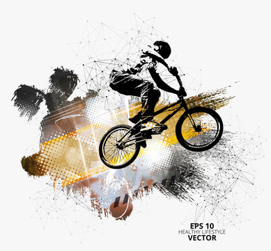 Young male bicycle jumper. Healthy lifestyle. Vector