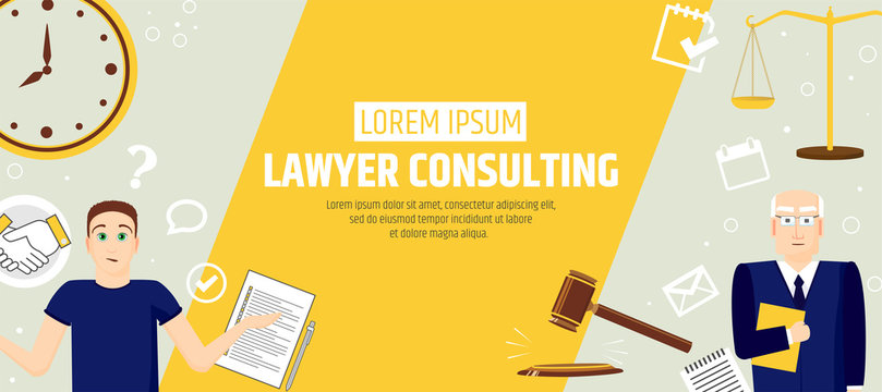 Lawyer consulting. A banner template of a law firm or company. Flyer legal services