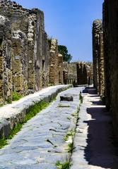 Pompeii Excavations: Paving stones with the blocks stone.