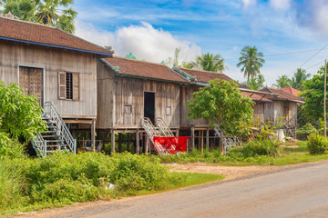 Houses in countryside in Cambodia along Mekong river.