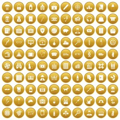 100 case icons set in gold circle isolated on white vector illustration