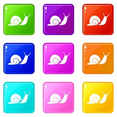 Snail icons of 9 color set isolated vector illustration