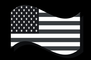 Flag of U.S.A waving with 50 stars in it on black background.