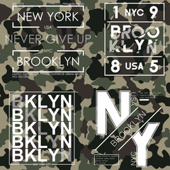 T-shirt typography with camouflage texture. New York, Brooklyn military design for tee shirt. Graphics set for apparel badge. Vector illustration.