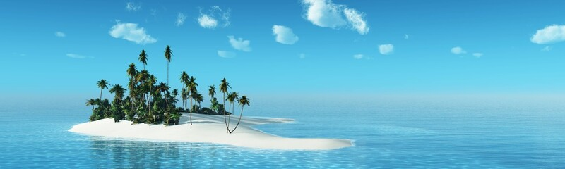 Tropical island with palm trees at sunset. Dawn over the ocean. Palm trees on the beach.