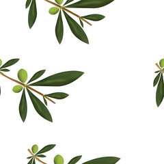 seamless pattern with olive tree vector illustration