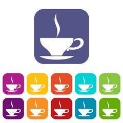 Cup of tea icons set vector illustration in flat style in colors red, blue, green, and other