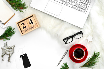 Christmas holidays flat lay concept of blogger's working space