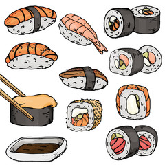 Set with different types of sushi and rolls, famous Japanese dishes on a white background. Colorful vector illustration in sketch style.