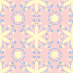 Floral pale pink seamless background. Floral pattern with light blue and yellow elements